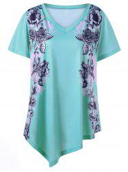 Asymmetrical Floral Plus Size Tunic