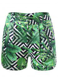 Tropical Leaf Print Shorts - COLORMIX