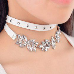 Rivet Faux Crystal Leaf Choker Necklaces