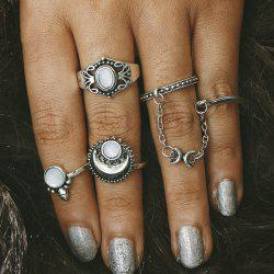 Retro Faux Opal Moon Rings