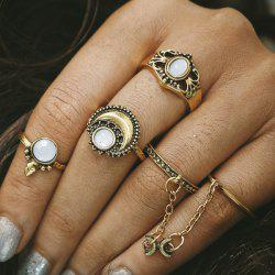 Retro Faux Opal Moon Rings - GOLDEN