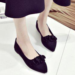 Pointed Toe Flowers Flat Shoes - BLACK