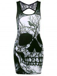 Lace Insert Skull Open Back Tank Dress - BLACK