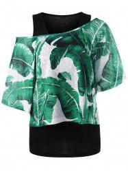 Skew Collar Tropical Leaves T-shirt -