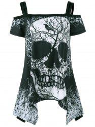 Open Shoulder Skull Handkerchief Tee - BLACK