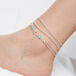 Multilayered Vintage Beads Chain Anklet - SILVER
