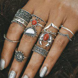 Vintage Engraved Sun Moon Finger Ring Set