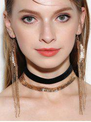 Disc Fringed Choker Necklaces and Earrings