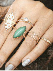 Artificial Gem Circle Geometric Finger Ring Set
