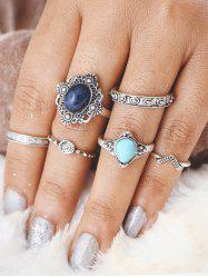 Bohemian Faux Turquoise Oval Finger Ring Set - SILVER