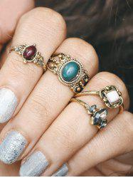 Engraved Artificial Gem Oval Finger Ring Set - GOLDEN