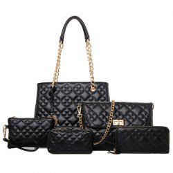 Chain Quilted 5 Pieces Handbag Set