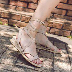 Wedge Heel Lace Up Sandals -