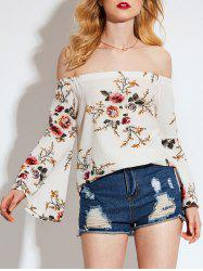 Floral Print Off Shoulder Flared Sleeve Blouse