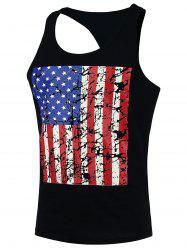 4th of July Muscle American Flag Tank Top - BLACK L