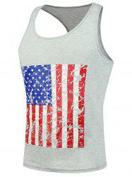 4th of July Muscle American Flag Tank Top - LIGHT GRAY