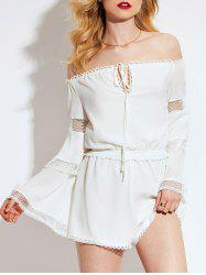 Fishnet Lace Trim Flared Sleeve Off Shoulder Romper