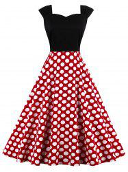 High Waist Polka Dot Sleeveless 50s Sweetheart Dress - RED 2XL