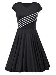 Vintage Striped Insert V Neck Dress - Noir