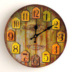 Vintage Analog Number Round Wood Wall Clock - WOOD COLOR