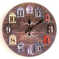 Classics Round Analog Number Wood Wall Clock - ROSEWOOD