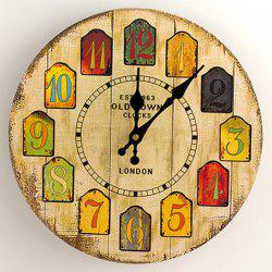 Cartoon Wood Analog Number Round Wall Clock