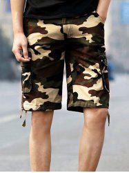 Pockets Drawstring Hem Camo Cargo Shorts