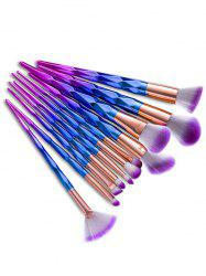 12Pcs Taper Angular Fancy Gradient Color Makeup Brushes Set - BLUE VIOLET