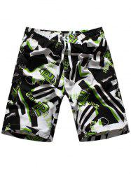 Geometric Graphic Print Drawstring Board Shorts - GREEN