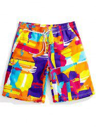 Drawstring Color Block Graphic Print Board Shorts - ORANGE