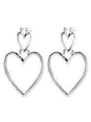 Detachable Metal Double Love Heart Earrings