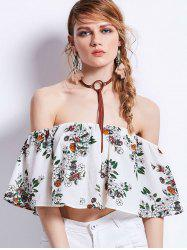 Floral Print Off Shoulder Flounce Cropped Top