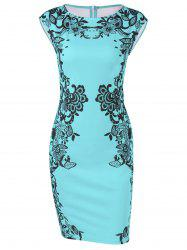 Cap Sleeve Floral Sheath Dress - BLUE GREEN