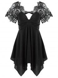 Empire Waist Lace Trim Handkerchief Peplum T-Shirt - BLACK