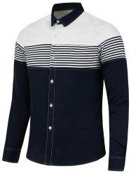 Stripe Panel Color Block Long Sleeve Shirt