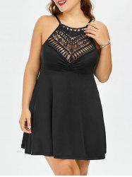 Lace Trim Empire Waist A Line Plus Size Slip Dress
