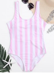 Shaping Striped One Piece Swimsuit - PINK AND WHITE