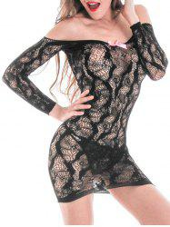 Off The Shoulder Lace Fishnet Chemise