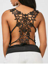 Ruched Back Lace Tank Top - BLACK
