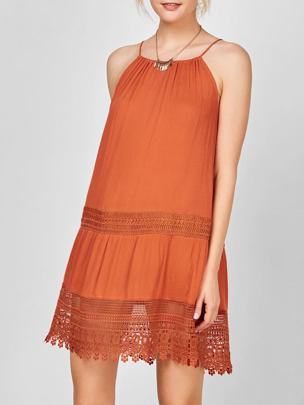 Fancy Lace Trim Bohemian Slip Dress