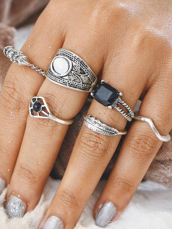Unique Gypsy Alloy Feather Geometric Finger Ring Set
