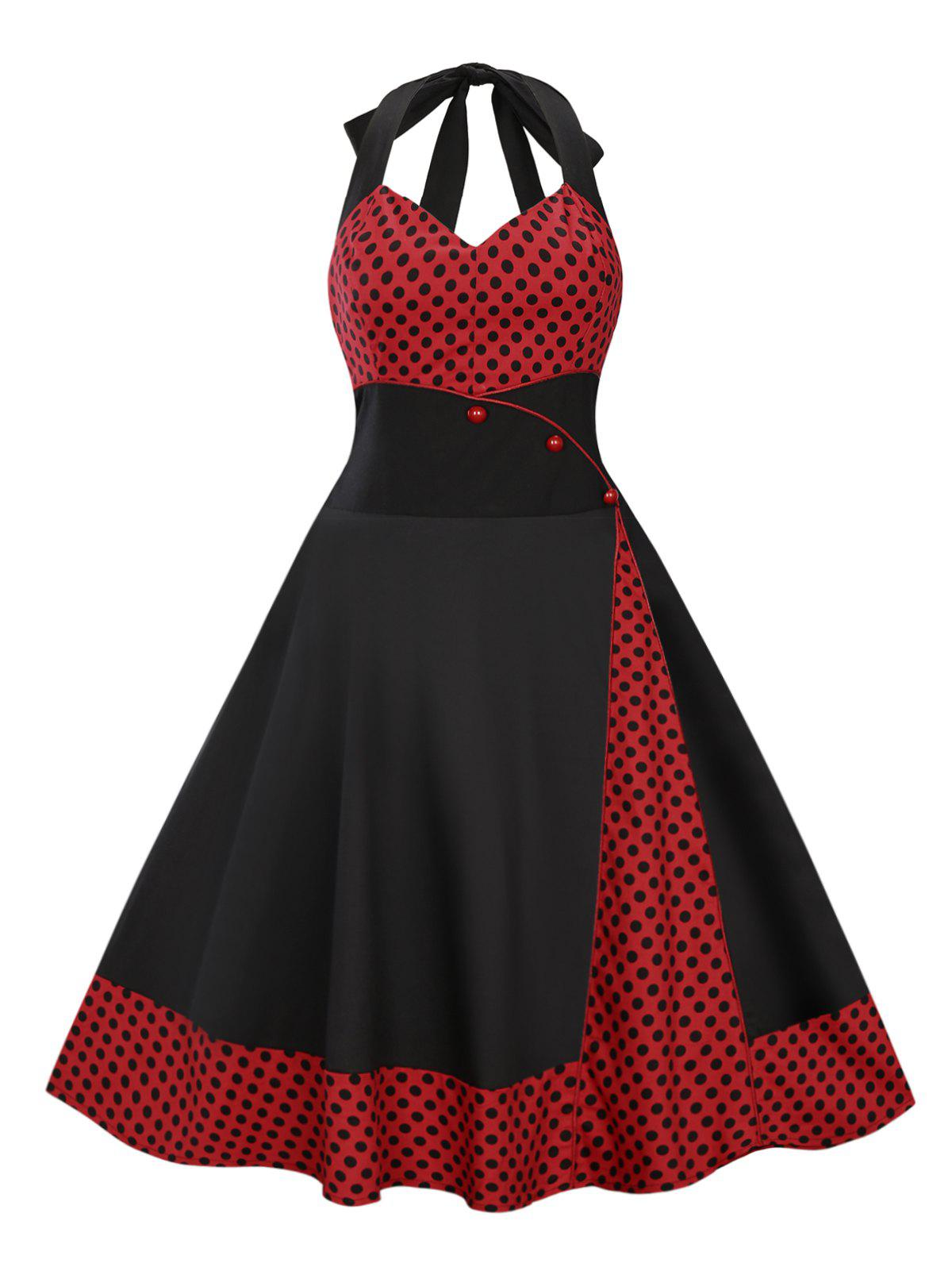 Plus Size Halter Midi Polka Dot DressWOMEN<br><br>Size: 4XL; Color: BLACK; Style: Vintage; Material: Cotton Blend,Polyester; Silhouette: Ball Gown; Dresses Length: Mid-Calf; Neckline: Halter; Sleeve Length: Sleeveless; Waist: High Waisted; Embellishment: Button,Vintage; Pattern Type: Polka Dot,Print; With Belt: No; Season: Spring,Summer; Weight: 0.4300kg; Package Contents: 1 x Dress;