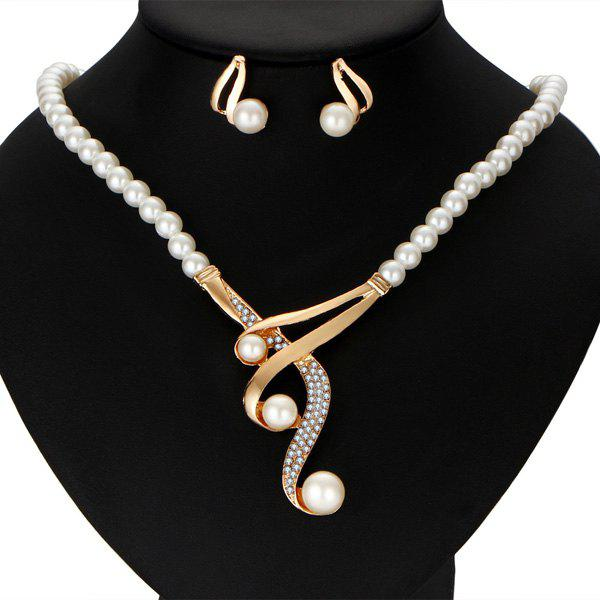 Faux Pearl Statement Necklace with Earrings
