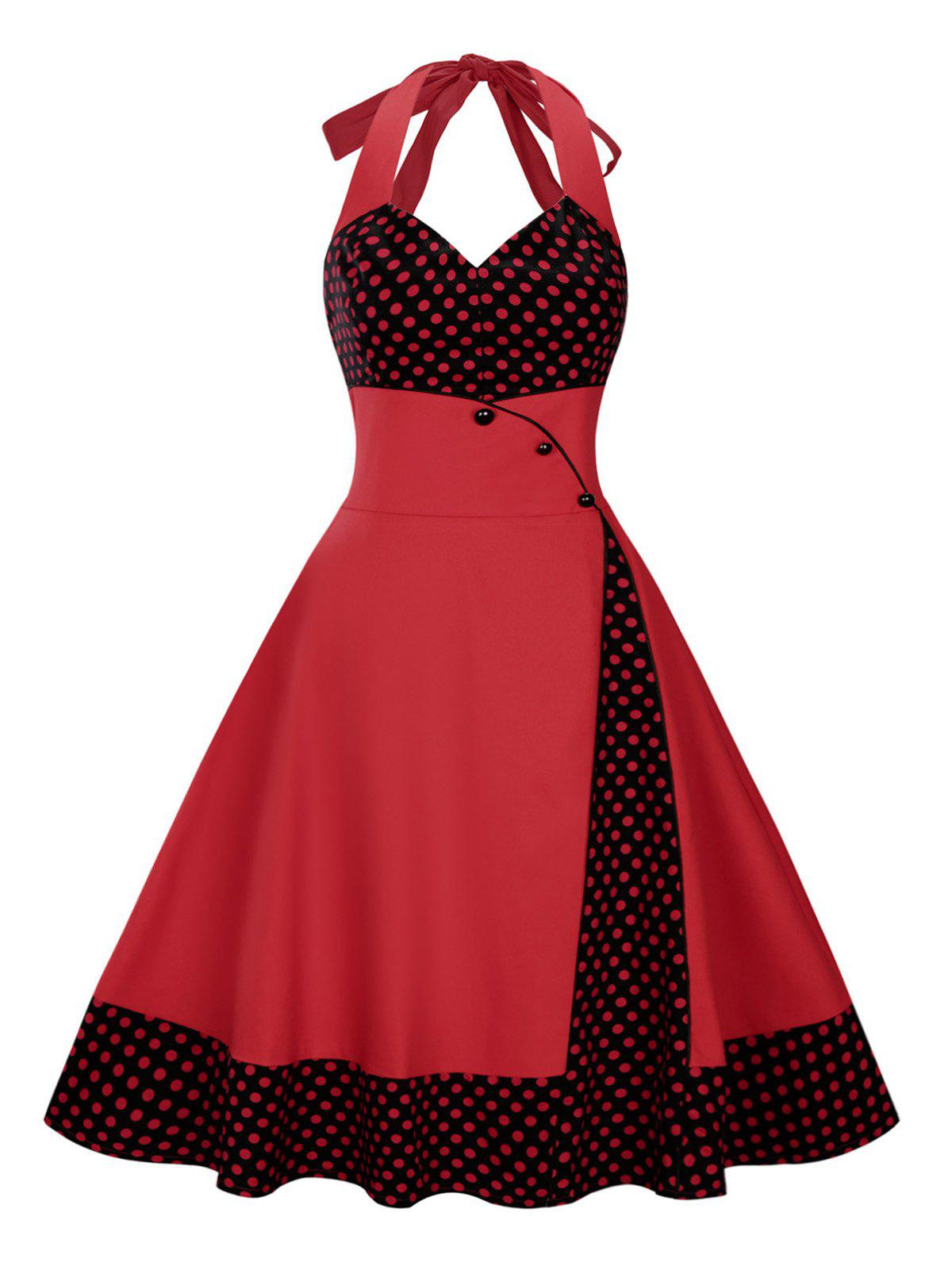 Plus Size Halter Midi Polka Dot DressWOMEN<br><br>Size: 3XL; Color: DEEP RED; Style: Vintage; Material: Cotton Blend,Polyester; Silhouette: Ball Gown; Dresses Length: Mid-Calf; Neckline: Halter; Sleeve Length: Sleeveless; Waist: High Waisted; Embellishment: Button,Vintage; Pattern Type: Polka Dot,Print; With Belt: No; Season: Spring,Summer; Weight: 0.4300kg; Package Contents: 1 x Dress;