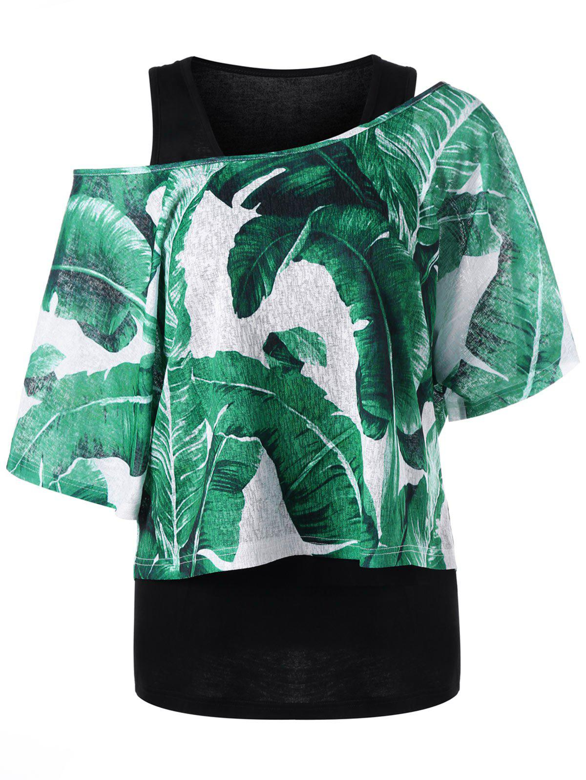 Shops Skew Collar Tropical Leaves T-shirt