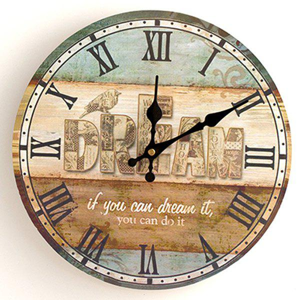 Dream Wood Analog Round Wall ClockHOME<br><br>Size: 30*30CM; Color: COLORMIX; Clock Type: Wall Clocks; Time Display: Analog; Style: Antique; Theme: Houses; Material: Wood; Weight: 0.3844kg; Package Contents: 1 x Clock;
