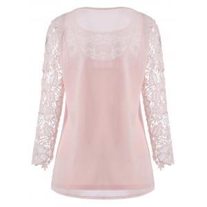 Lace Crochet Tee with Cami Top - PINK XL