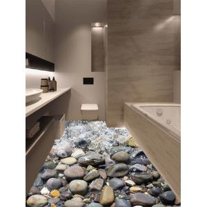 Removable 3D Stone Stream Vinyl Floor Sticker - Multicolor - 50*70cm
