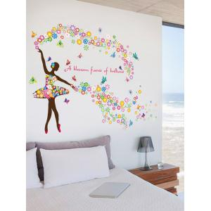 Dancing Girl Quotes Floral Butterfly Wall Sticker - COLORFUL 60*90CM
