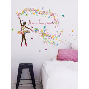 Dancing Girl Quotes Floral Butterfly Wall Sticker -